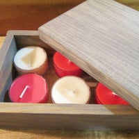 "Rustic Wood Box, Tea Light Candle, Hostess Gift Box, Wood Box, Wood Gift Box, Keepsake Box, 6"" x 4"""