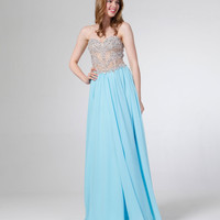 Sky Blue & Nude Strapless Beaded Lace Back Chiffon Gown  2015 Homecoming Dresses