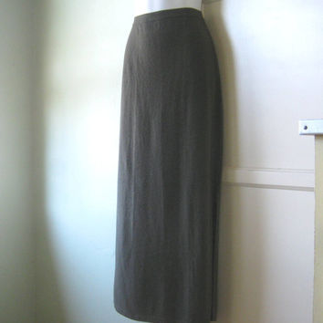 """Vintage Lord & Taylor Moss Green Cashmere Maxi Skirt - Long Green Cashmere Skirt; Small Side Slit; Up to 30"""" Waist"""