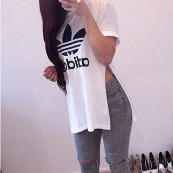 """Adidas"" Women Fashion Casual Letter Print Cotton Split T-shirt Tops"