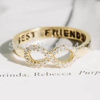 Crystal Best Friends Infinity Rings,Rhinestone Infinity Rings,Infinite Eight Shape Ring R023