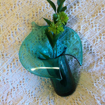 Green Jack in Pulpit Vase Studio Nova Italian Art Glass Hand Blown Calla Lily Flower Vintage Collectible Vase Made In Italy