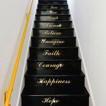 Acrylic Silver Mirror Word Art Stair removable 3D Wall Sticker For stairs Living Room Home Decor
