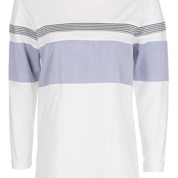 Stripe Hybrid Long Sleeve T-Shirt - Tops - Clothing