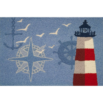 """Ocean Outpost Red White Lighthouse Compass Anchor Accent Rug 21 x 33"""" Jellybean"""