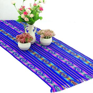 Mexican table runner, Royal Blue Table runner 14x72 Inches, Fiesta Decoration, Cinco de Mayo, Boho Chic Decor, 14X72TRC53