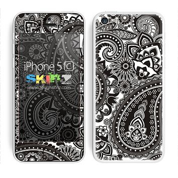 Black/White Colored Paisley Pattern V1 Skin For The iPhone 5c