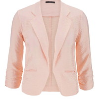 Blush Blazer With Textured Fabric - First Blush