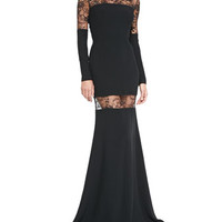 Elie Saab Long-Sleeve Mermaid Gown W/ Lace Inserts