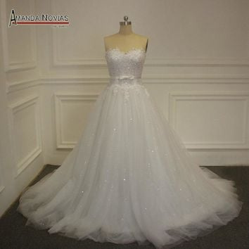 Low Back Sweetheart Neckline Top Lace Sequin Tulle Skirt Wedding Gowns NS1166