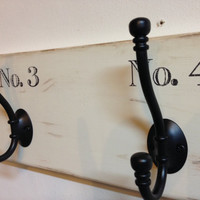 Shabby chic wood coat rack with number graphics - distressed wall mount coat hook rack