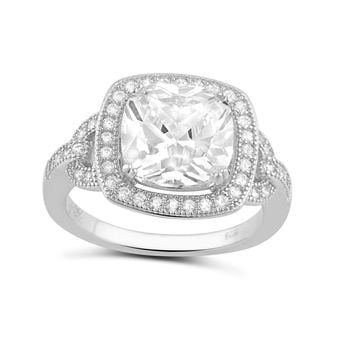 Sterling Silver Square Cz Big Halo Statement Ring