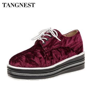 Tangnest Women Soft Velvet Platform Shoes Cross-tied Round Toe Women Casual Shoes Height Increasing Women Flats Spring XWD6498