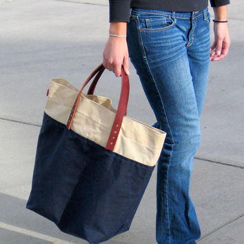 Large Waxed Canvas Tote with Leather Handles Navy and by Zakken