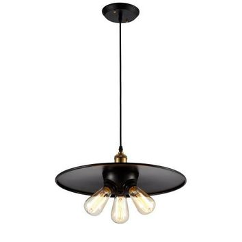 "Edison Vintage Industrial Pendant Lighting 3 Bulbs Black Brass Finish 17.5"" (ED378P2)"