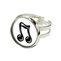 Music Notes - Love Singing Silver Plated Adjustable Novelty Ring