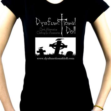 Dysfunctional Doll Official Logo Women's Babydoll Shirt Gothic Clothing