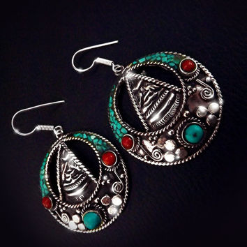Vintage Nepalese earrings, sterling silver, turquoise and coral earrings, boho jewelry, tibetan jewelry, mosaic jewelry, antique gemstones