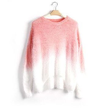 Fashion Gradual gradient color sweater Mohair Sweater Long Sleeve Loose Pullover Jumper Tricot fabric Women Sweater