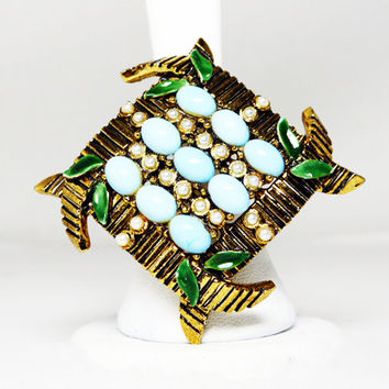 Bamboo Turquoise & Pearl Brooch - Diamond Shaped - Asian Inspired Vintage 1970's 1980's Pin - Dark Gold Tone Setting