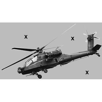 AH-64 Apache attack helicopter side view - Airbrush Stencil