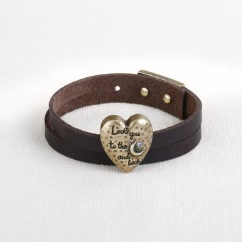Story Heart Bracelet - Love You to the Moon and Back