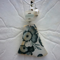 Sea Glass Necklace Beach Pottery Shard Jewelry Black Floral Pendant Sterling