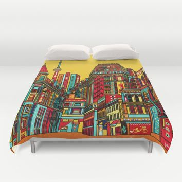Sound of the city Duvet Cover by Justine Lecouffe