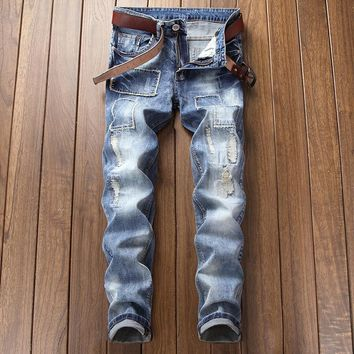Slim Stretch Blue Ripped Holes Jeans [454562021405]