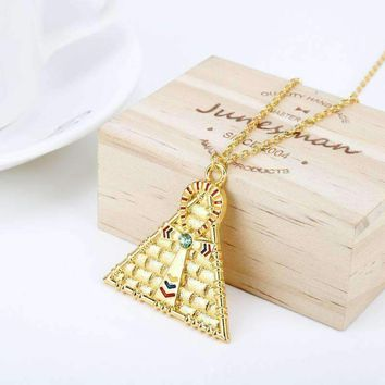 HANCHANG Jewelry Egyptian Pyramid Necklaces for Women Gold Eye Of Horus  5.00% Off Auto renew
