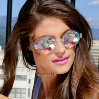 Clear Retro Round Kaleidoscope Glasses