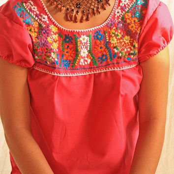 Pink Mexican hippie floral mini tunic top dress beautiful embroidered