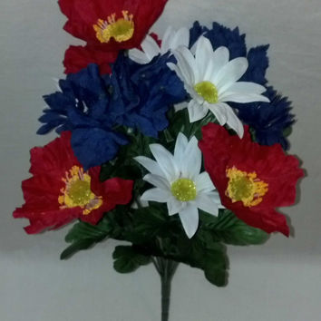 Patriotic American Flower Bush - 18 Inch - Red/White/Blue
