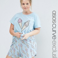 ASOS CURVE Ice Cream Print Tee & Short Pyjama Set