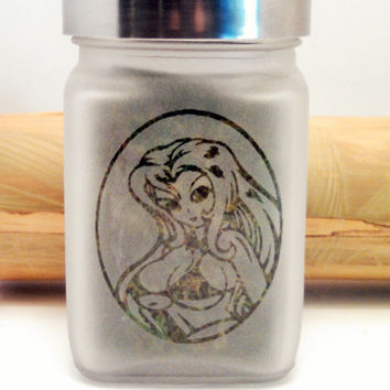 Sexy Anime Stash Jar - Etched Glass- Free UPGRADE to Priority Mail within the US