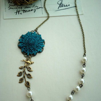 A Blue Floral Rose Flower, Brass Leaf, Bird Necklace. Wedding Bridal. Vintage Inspired. Bridesmaids Necklace Gifts.