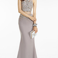 Long Mock Two Piece Alyce Prom Dress with Sheer Midriff