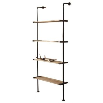 Tall Metal & Wood Wall Shelving Unit
