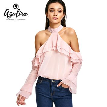 Women Blouse Mock Neck Long Sleeves Ruffle Layered Cold Shoulder Blouses Sweat Pink Top