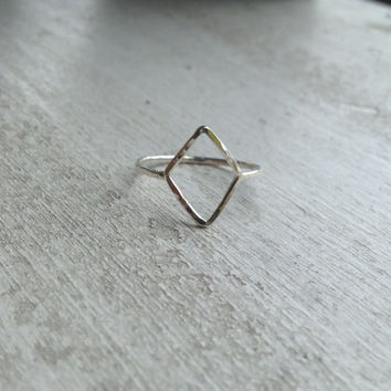 Sterling Silver Hammered Open Diamond Shaped Stacking Ring, Stacking Ring, Knuckle Ring, custom made to order