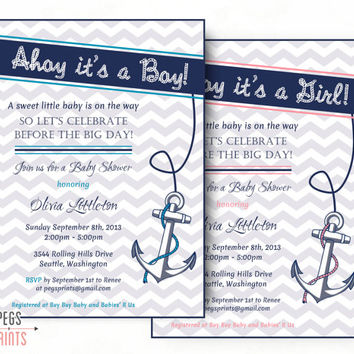 Nautical Baby Shower Invitation Boy - Nautical Baby Shower Invitation Girl - Printable Ahoy its a Boy Invitation - Ahoy its a Girl Invites