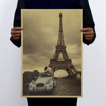 Eiffel Tower Drawing Posters Vintage Poster Kraft Paper Wall Poster Old Poster Decorative Wall Sticker 51x35.5cm