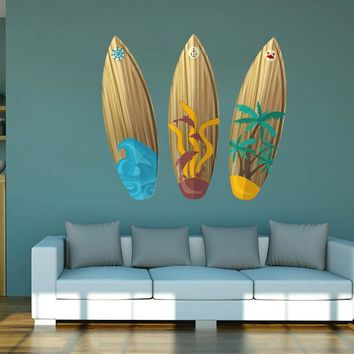 cik1508 Full Color Wall decal board wave surfing hawaii living room bedroom sports shop
