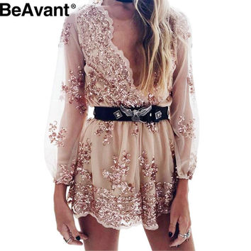 BeAvant Deep v neck sexy lace sequin playsuit women Tassel short transparent mesh bodysuit club elegant jumpsuit rompers