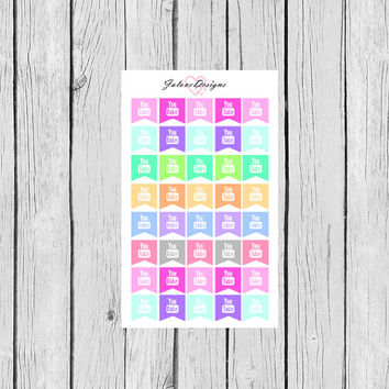 YOUTUBE Social Media Planner Stickers perfect  for Erin Condren, Kikki K, Filofax, Plum Paper Planners #0005