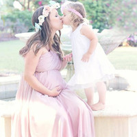 Pastel Paper Flower crown blush peach, pastel pink and aqua, North Naples Florida, Missy K photography