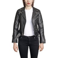 Lady's Commando, The - Black Leather Jacket - Nickel Hardware with Bicep Zipper
