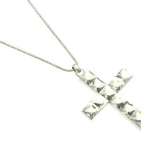 NECKLACE / CROSS / LINK / METAL / FACETED GLASS BEAD / CHUNKY / 3 3/4 INCH DROP / 28 INCH LONG / NICKEL AND LEAD COMPLIANT