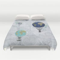 "Hot Air Balloons Duvet Cover or Comforter, ""World Flight"" duvet or comforter, blue, beautiful, bedroom travel decor"
