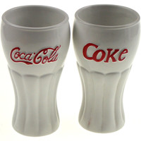 White Coca Cola Ice Cream Sundae Glasses Set of 2 White Houston Harvest 2002